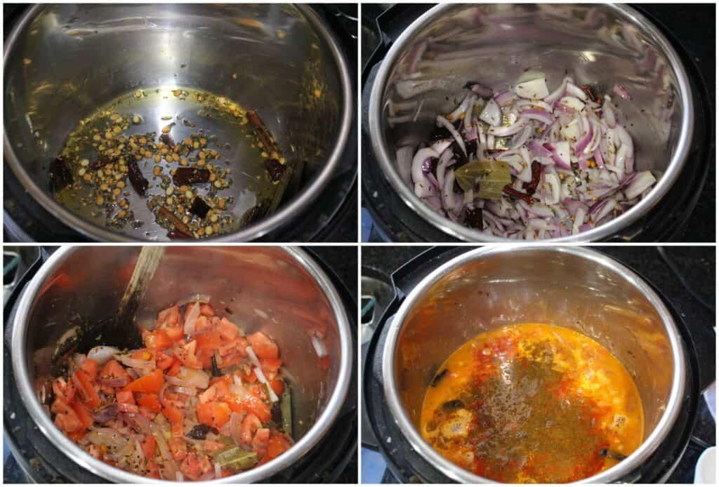 Step by step procedure to make Instant Pot Tomato Biriyani