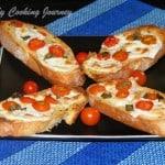 Crostini with Cherry Tomatoes and Mozzarella