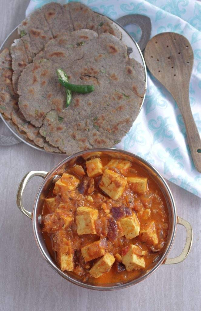 Paneer do pyaza subzi with bread