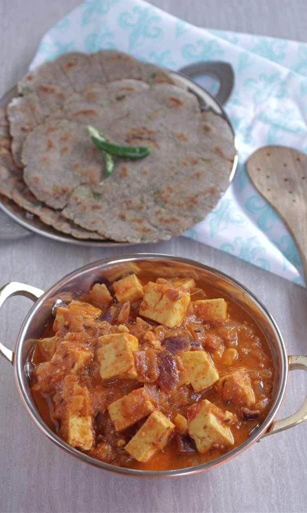 Paneer Subzi with buckwheat flour roti