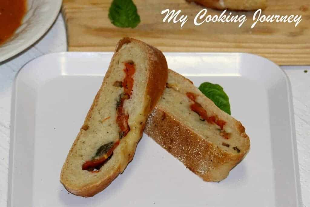 Tomato Mozzarella and Basil stuffed Baguette