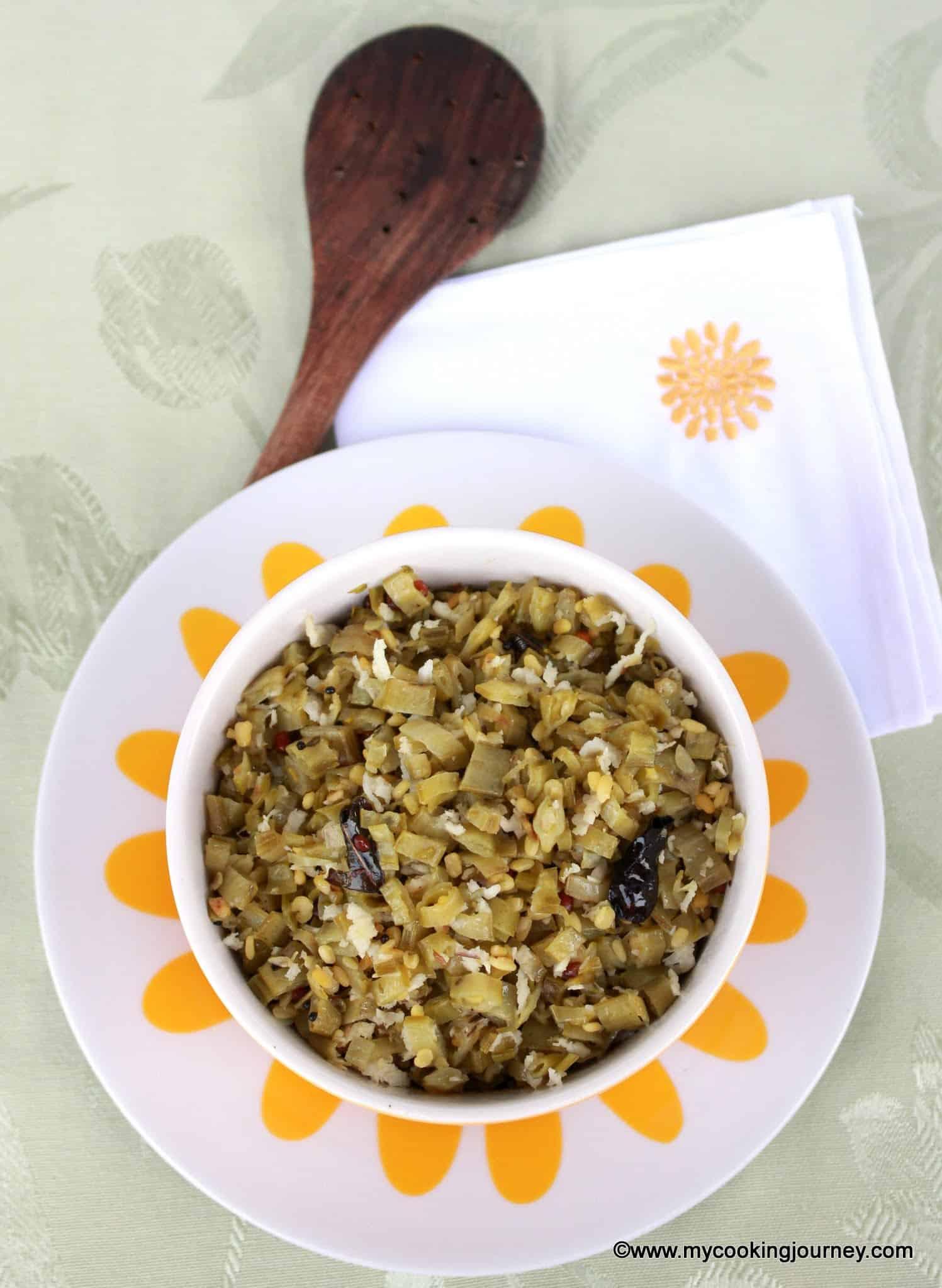 Kothavarangai Poriyal – Kothavarangai Curry with Coconut – Cluster Beans Stir-Fry with Coconut