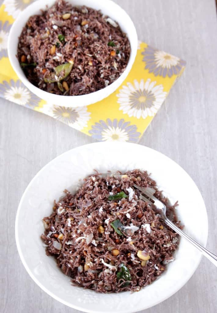 savory ragi idiyappam in two white bowls