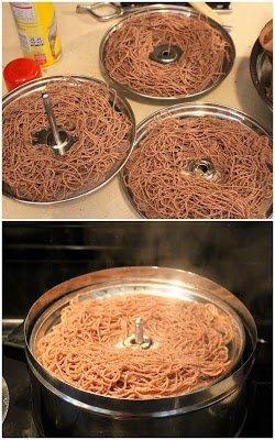 squeezed ragi idiyappam in steamer plate