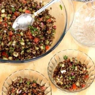 French Green Lentil Salad with Balsamic Vinegar Dressing