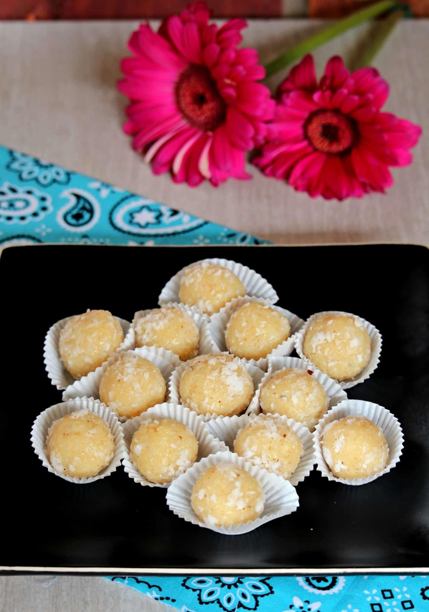 Coconut Ladoo | Quick Coconut Ladoo with Condensed Milk