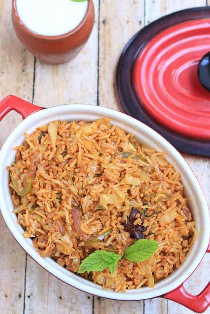 Simple Cabbage Biriyani | Spiced Cabbage Rice