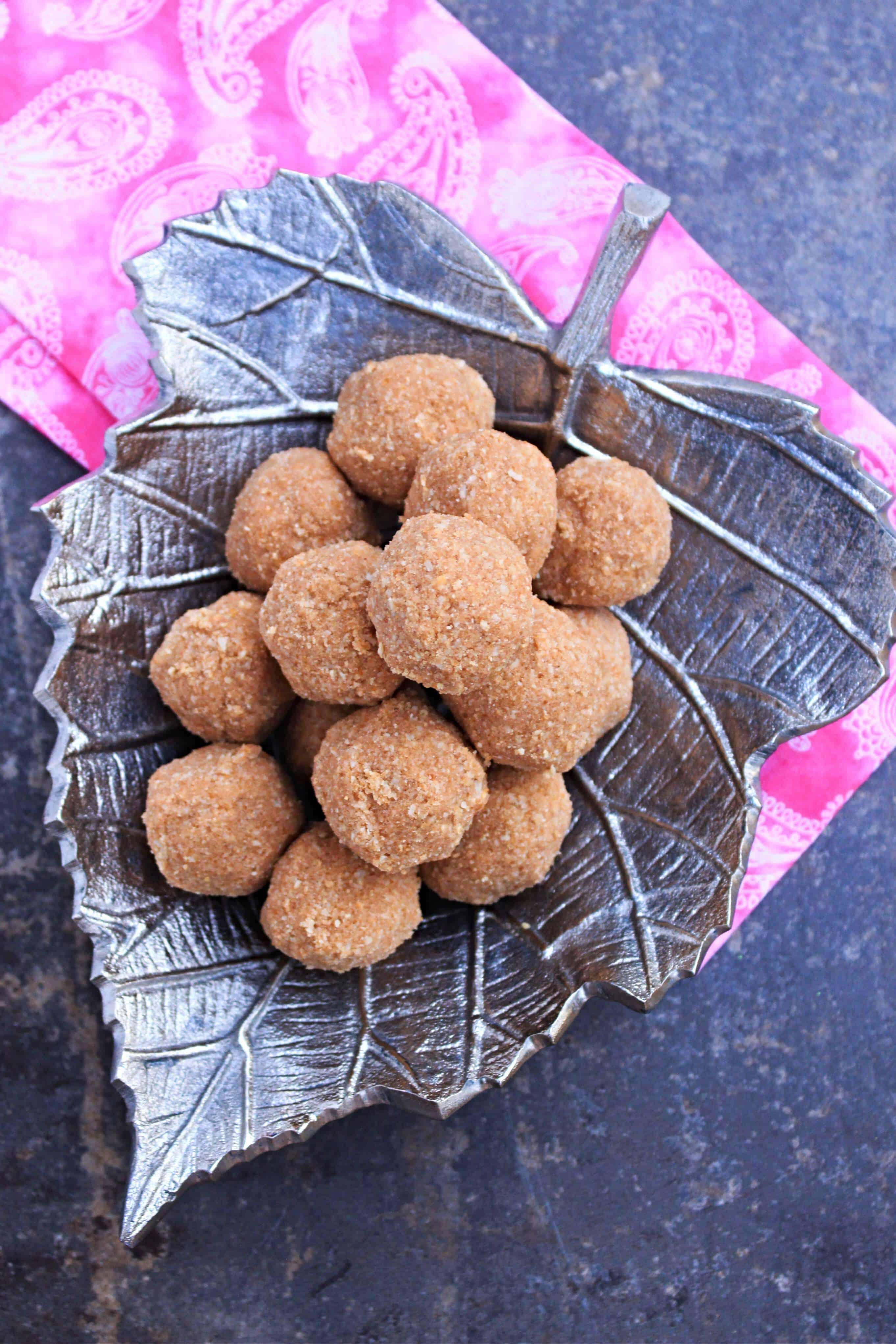 Kerala Style Cashew Rice Balls on a decorative plate