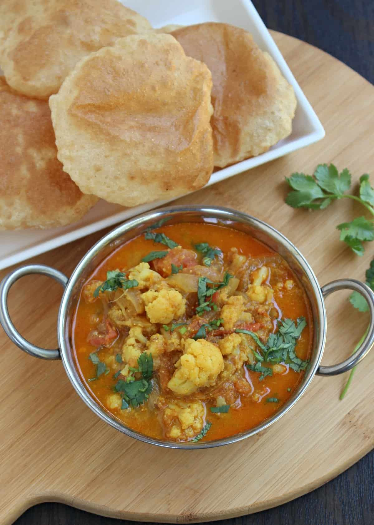 Cauliflower curry with poori