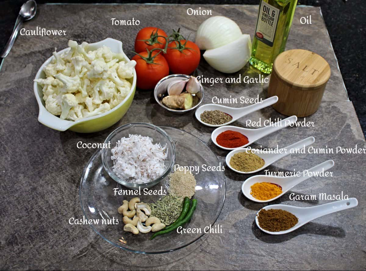 Ingredients needed to make cauliflower kurma