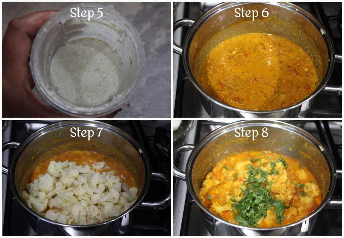 Step by step process to make cauliflower kurma