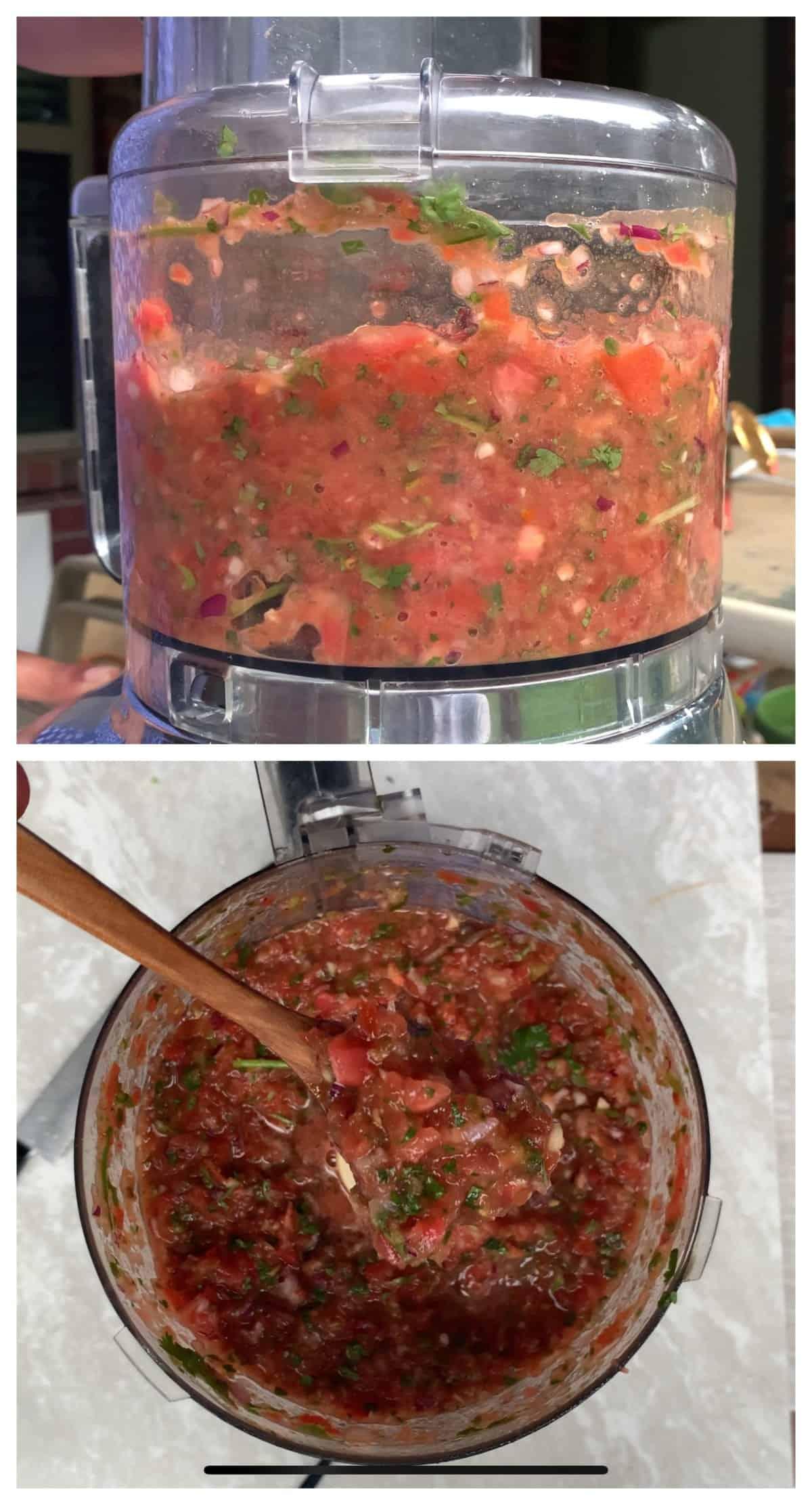 Making Tomato salsa in a food processor