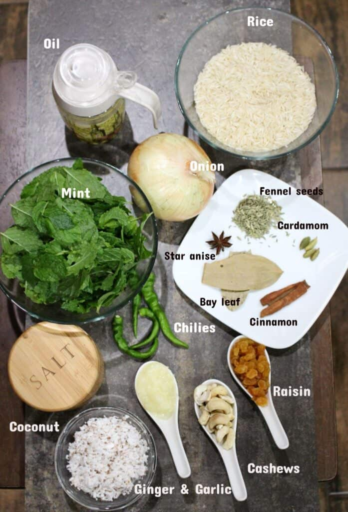 Ingredients shot to make Mint Pulao