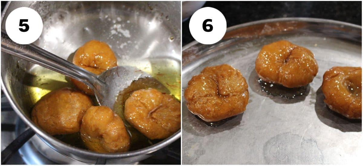 Soaking badusha in sugar syrup